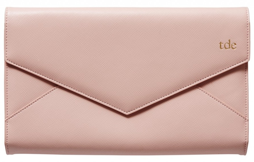 Pale Pink Envelope Clutch $99.95, complimentary monogramming, The Daily Edited.