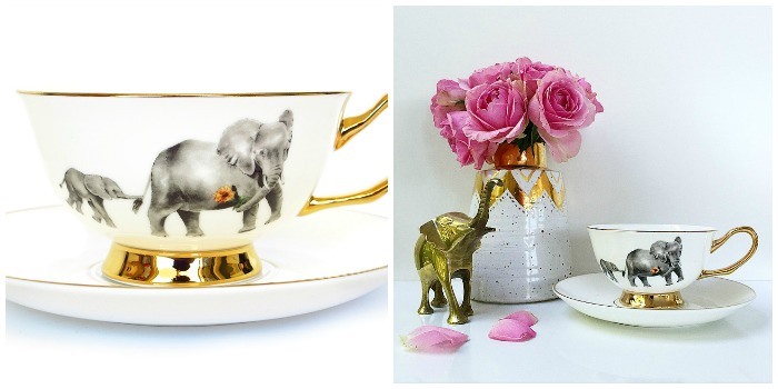 Golden elephant tea cup and saucer set | Nest the label