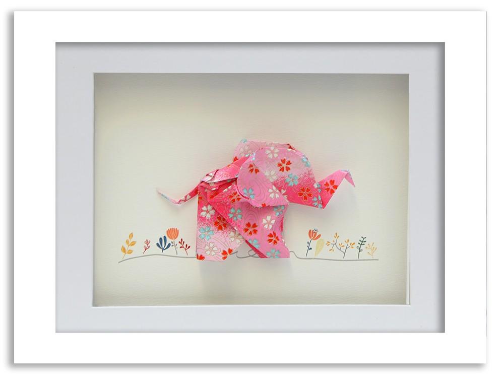 Happy elephant framed origami | Short Story