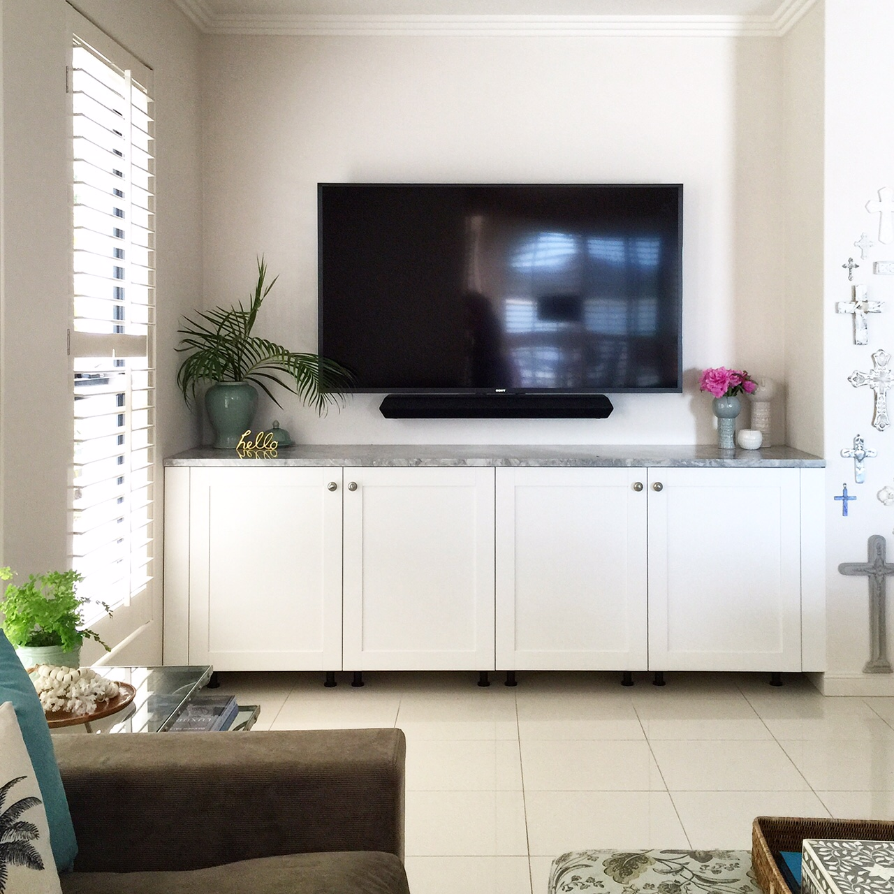 Our ikea hack tv cabinet for Ikea living room wall cabinets