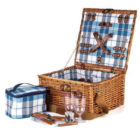 Avanti - 2 person blue check picnic basket | Peters of Kensington