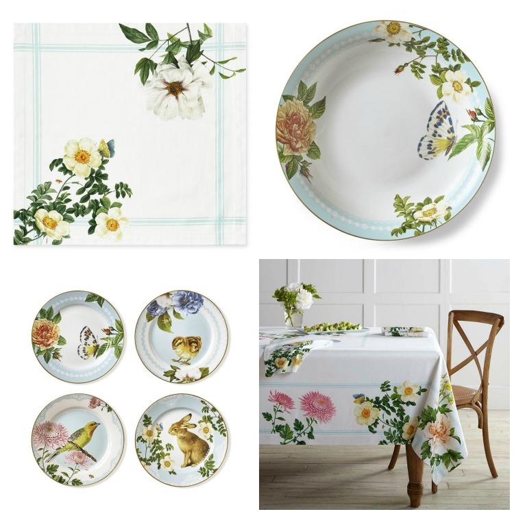 Garden Party Linens and Spring Garden plates/bowl | Williams-Sonoma