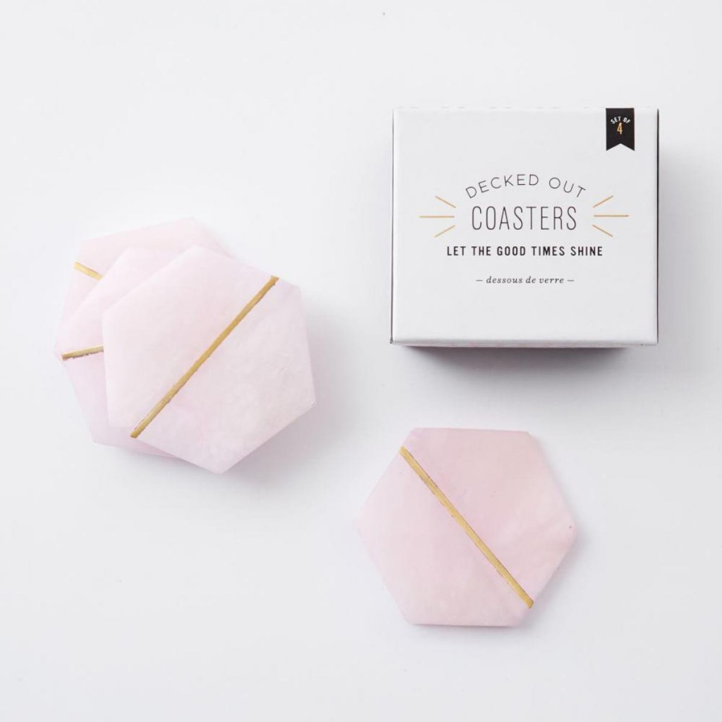 Decked out pink stone coasters | West Elm