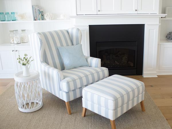 Hamptons chair and ottoman.