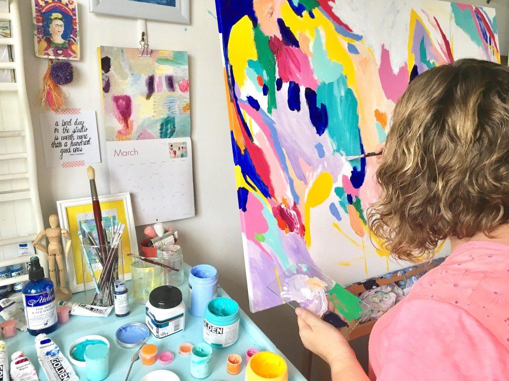 Karen working in her studio on the Fraser Coast.