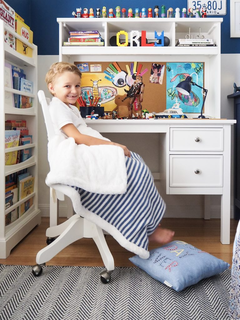 Creating a stylish study space with Mum Little Loves and Pottery Barn Kids.